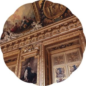 Decorative gold wall with oil paintings, Musee du Louvre
